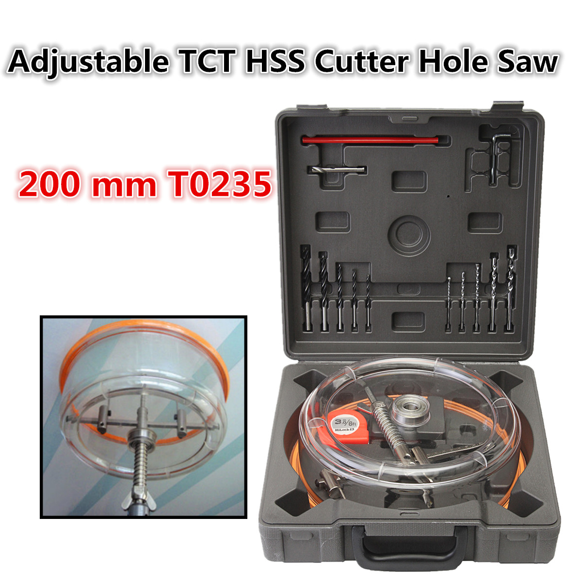 Ceiling Woodworking Drill Bit Adjustable Downlight Holesaw Ceiling Wall TCT HSS Cutter Hole Saw 200 Mm T0235 With Dust Cover