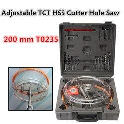Techo broca de carpintería ajustable Downlight Holesaw techo pared TCT HSS perforador de agujeros Saw 200 mm T0235 con cubierta de polvo