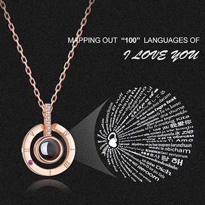 Necklace for Women 100 Languages Projection I Love You Pendant Chain Jewelry Birthday Mother's day Gift for Her(China)