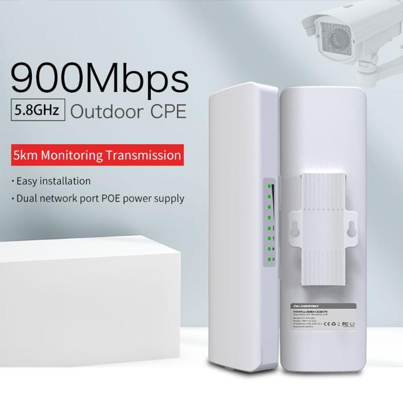 COMFAST Haute Puissance Sans Fil Pont 5.8G 3-5 KM Longue Portée 900 Mbps Sans Fil Extérieure CPE Nanostation Wifi pour IP Caméra CF-E313AC