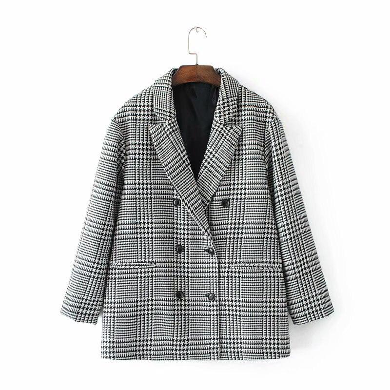 Blazer À Lady Double Poule Automne Plaid Veste Boutonnage Office Costume 2019 Printemps v5dOqxYO