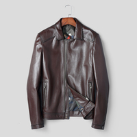 Genuine Goat Leather Coat 2019 New Spring Casual Classical Male Leather Jacket Real Men Genuine Leather Coat chaqueta Wine