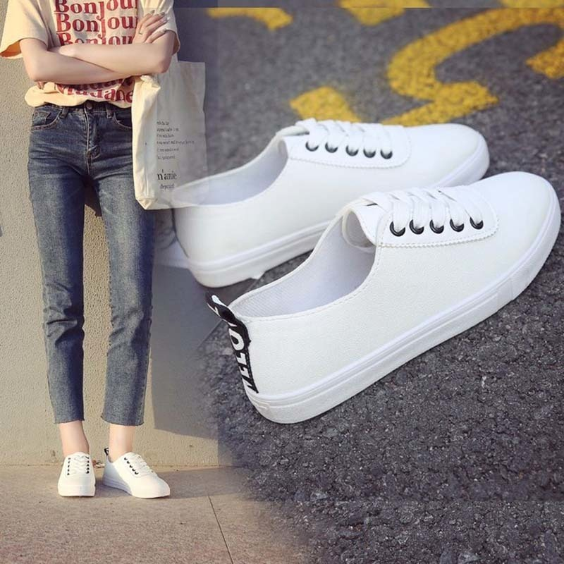 Spring And Summer White Casual Flat Shoes Female Lace-up Simple Classic Breathble Pu Shoes Women Sneakers Zapatos De Mujer