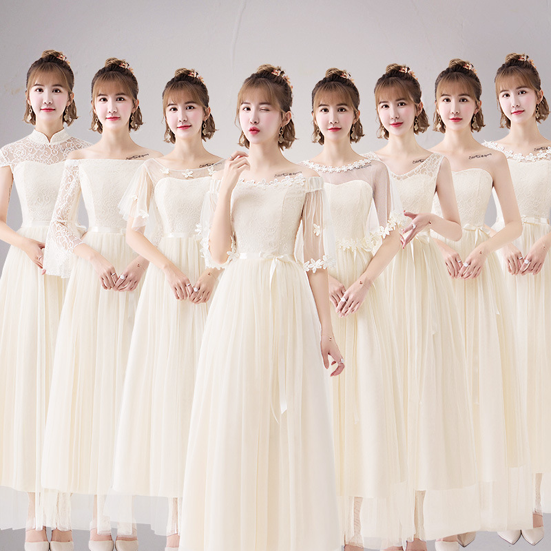 Bridesmaid Lace Dresses Elegant Long Wedding Party Dress Net Yarn Maid Of Honor Dress Tulle Party Gowns