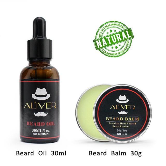 XY Fancy 7 Pcs/set Men Beard Care Suit Beard Comb Pig Bristle Brush Growth Cream Oil Beard Styling Care Cleaning Kit 2