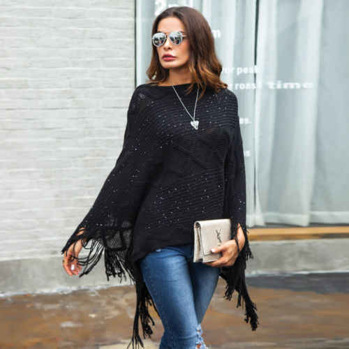 Women Poncho Stole Cape Shrug Wrap Shawl Jacket Jumper Tassels Top Crochet Loose Batwing Sleeve Wrap Shawl Autumn Winter Knit