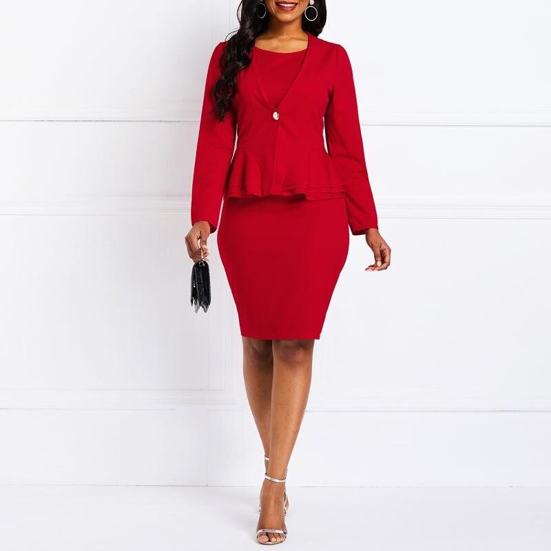100% QualitäT Frühling 2019 Frauen Anzüge Büro Tragen Blazer Mantel Rüschen Sexy Bodycon Kleider Solide Rot 2 Stück Kleid Anzug Elegante Business Sets