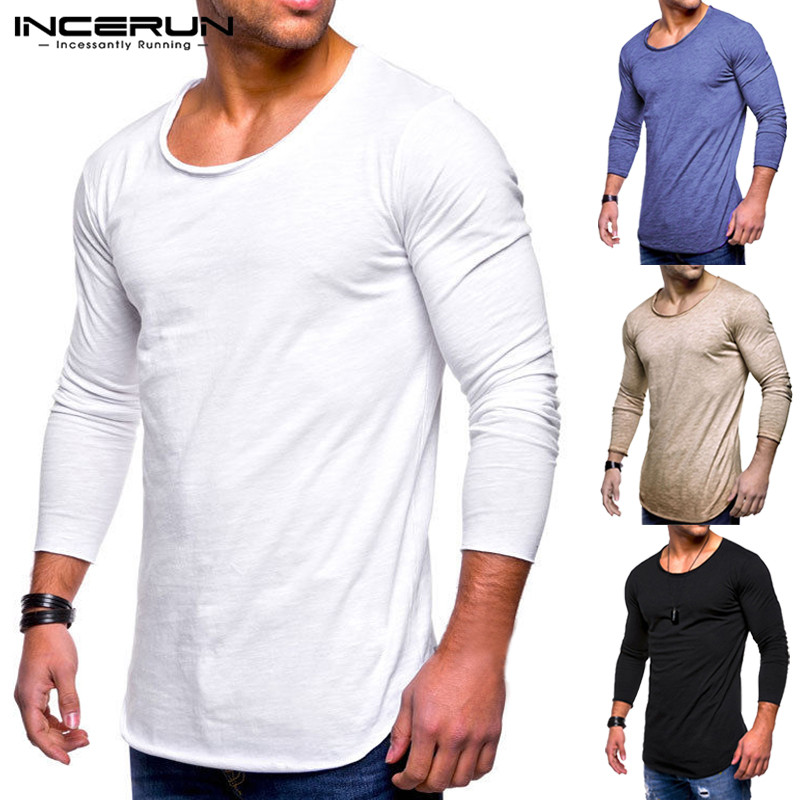 INCERUN 2018 Men's T-Shirts Autumn Long Sleeve Tee Slim Fit O-Neck Muscle Tee Shirts Joggers Workouts Bodybuilding Men Clothing