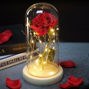 Image 2 - Bellezza artificiale e bestia fiore rosa In vetro cupola cintura lampada a LED decorazioni per la casa di natale per san valentino regalo di capodanno