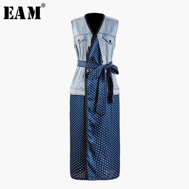 EAM 2019 New Spring Summer V collar Sleeveless Blue Dot Printed Bandage Bow Denim Long