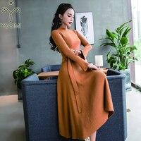 YOSIMI 2019 Autumn Winter Maxi Long Women Dress Stand neck Elasticity Sweater Dress Female Vestidos Full Sleeve Ankle Length