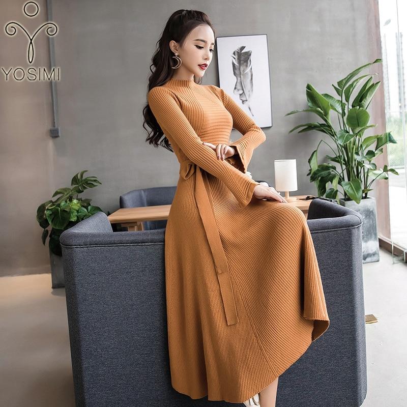 YOSIMI 2019 automne hiver Maxi longue femmes robe col montant élasticité pull robe femme Vestidos pleine manches cheville-longueur