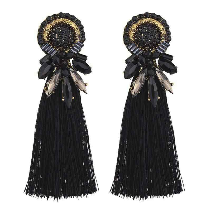 1 пара модных кристаллов горный хрусталь установлен кисточкой серьги Лето бохо стиль сплава преувеличены кисточкой серьги для женщин