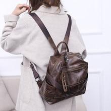 Купить с кэшбэком MARFUNY Vintage Backpacks Women Large Capacity High Quality PU Leather Women Shoulder Travel Bags School Bagpack For Girls 2019