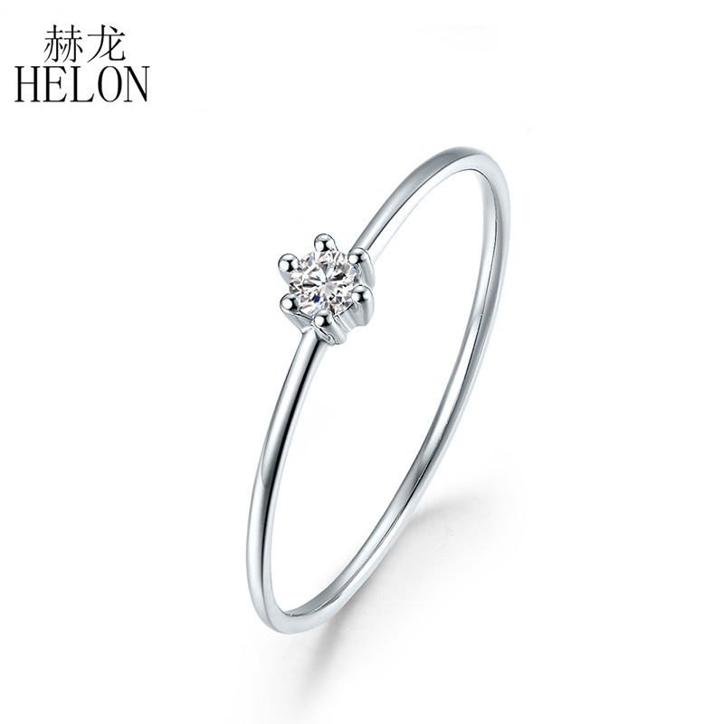 HELON Solid 14k White Gold(AU585) 0.05ct SI/H Round 100% Diamond Engagement Trendy Fine Jewely Elegant Unique Women Gift Ring