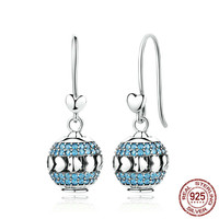 Exclusive Design 100% 925 Sterling Silver Heart To Heart Blue Crystals Drop Earrings Set With Beads Diy Fine Jewelry BAMOER