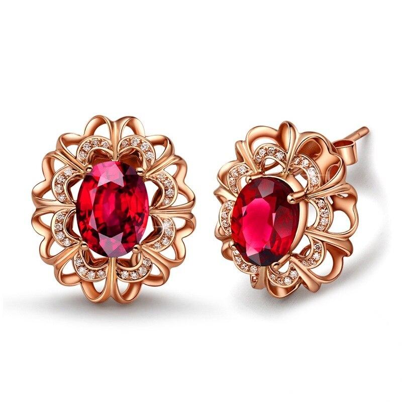 NoEnName Red Ruby Bridal Earring for Women 14K Rose Gold Jewelry Gemstone Amethyst Crstal Wedding Stud Earrings Bizuteria