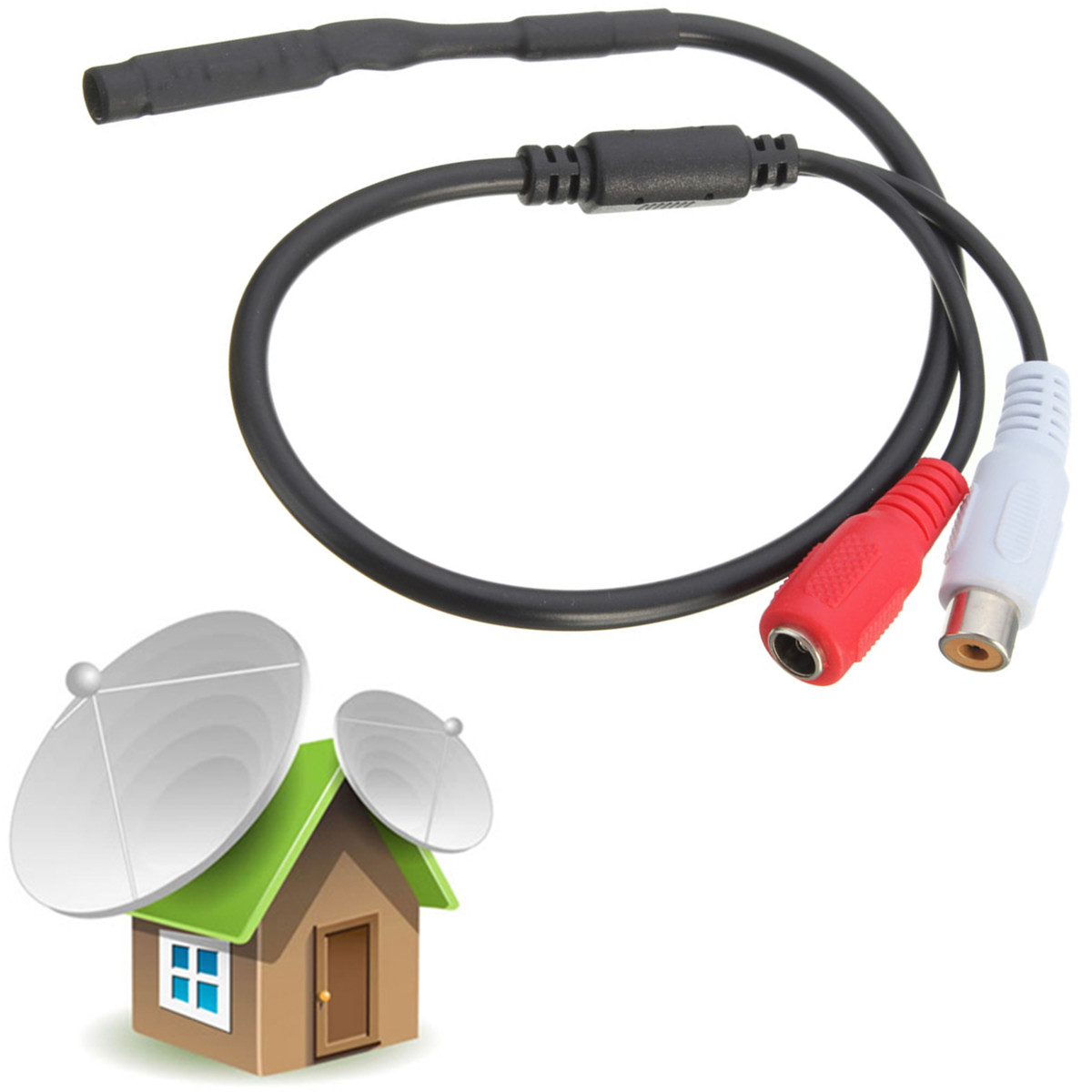 Sensitive Audio Pickup Mic Microphone For CCTV Security System Covert DVR