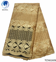BEAUTIFICAL gold lace fabric nigerian lace fabric 2018 african high quality ankara lace fabric hot sales 5 yards for lady TCN616