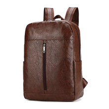 New Men Backpack PU Leather Business Backpack Fashion Travel Bag Casual School Bag For Teenagers Laptop Backpack Mochila Brown цена 2017