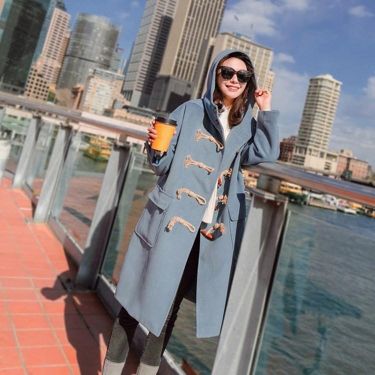 De Automne Manteau Bleu Manteaux Hiver Femmes Corne Long Turn Survêtement Lâche À down Bouton 2018 Capuchon Style Coréenne Collar Laine qOwI00