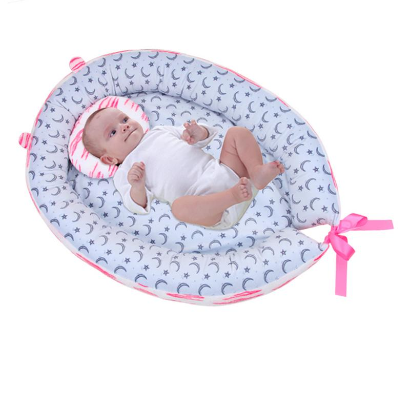 Portable Baby Nest Bed Cotton Cradle Print Baby Bassinet Bumper Folding Sleeper For Newborn Travel Bed
