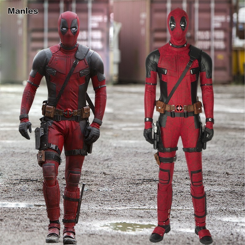 Deadpool 2 Costume Once Upon A Deadpool Wade Winston Wilson Cosplay Carnival Halloween Movie Party Full