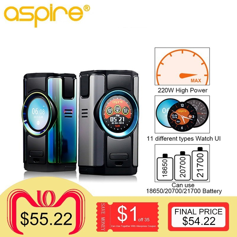 Electronic Cigarette Mod Aspire Dynamo 220W 510 thread Vape Box Support VW VV Bypass CPS TC TCR Modes with 2 inch TFT Screen original electronic cigarette kanger vola box mod 100w vape vw tc tcr with tft screen tc vaporizer e cig vape box mod