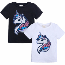 Cartoon Print Baby Girls Boys Unicorn T Shirt For Summer Infant Boy Girls Short Sleeve T-Shirts Clothes Cotton Toddler 2-8Y Tops все цены