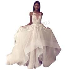 75f245b8f Playa de encaje elegante Informal vestidos de boda sin mangas 2019 vestido  de novia espalda abierta Blanco Marfil vestidos de bo.