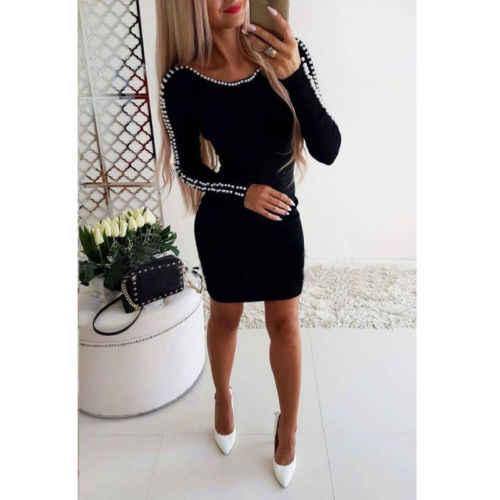 Женское облегающее мини-платье с бисером на плече, вечернее осеннее трикотажное обтягивающее Повседневное платье-карандаш с длинным рукавом, Vestidos