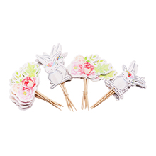 24pcs/lot Cartoon Easter Bunny Flowers Cupcake Toppers Cute White Rabbit Cake Pick Hat Party Decorations Baby Birthday Wedding 24pcs lot cartoon easter bunny flowers cupcake toppers cute white rabbit cake pick hat party decorations baby birthday wedding