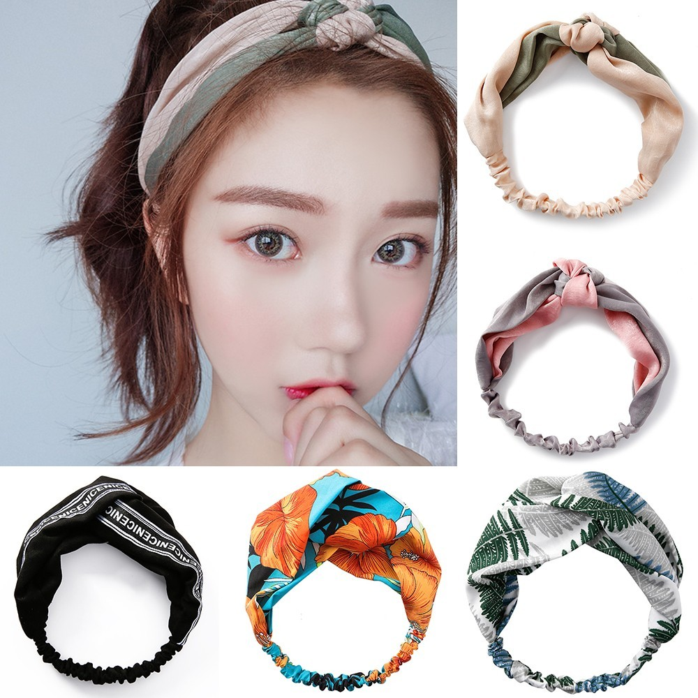 Meyfflin 2019 Cute Stripe Elastic Headbands for Women Girls Fabric Floral Print Hairband Bandanas Hair Band   Headwear   Accessories