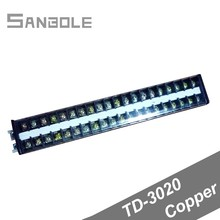 Copper TD-3020 30A/600V 20 positions Dual Row Connection Terminals DIN rail installing Strip Barrier Screw Terminal Block 380v 30a dual row 12 position screw terminal barrier strip block