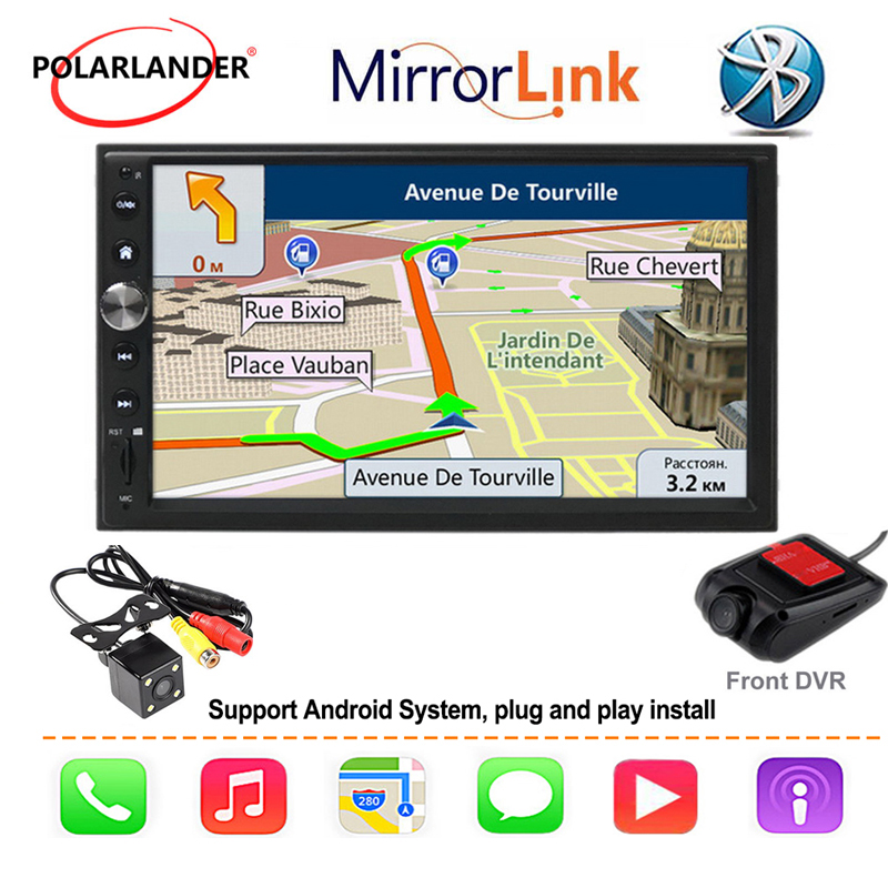 Autoradio 7 ''2 DIN GPS Navi Autoradio pour Apple Carplay & Android FM Autoradio multimédia Bluetooth miroir lien voiture audio main