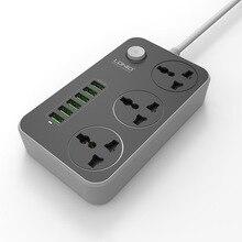 Multiprise de plomb dextension USB, chargeur à 6 prises multiples, prise à 3 voies, prise de sortie de bandes de carte Standard britannique,