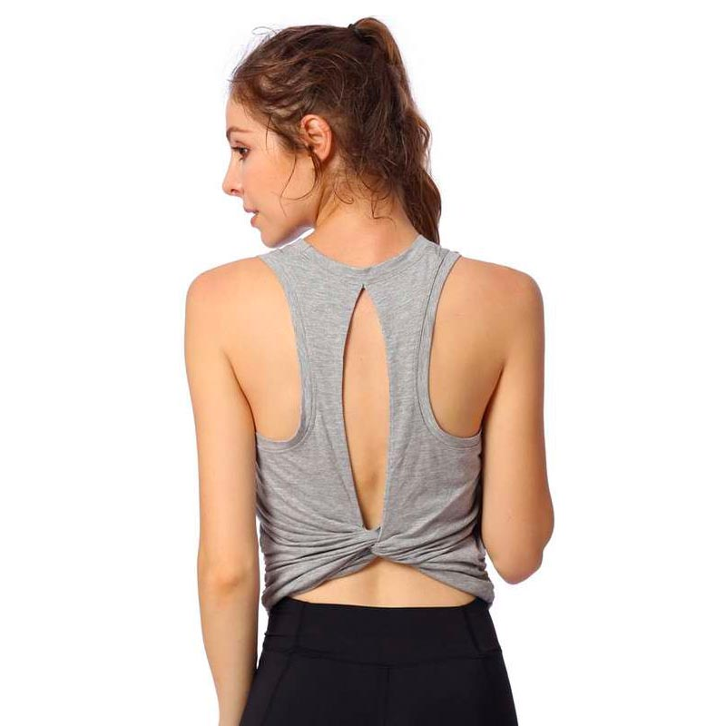 где купить Open Back Sports Workout Fitness Womens Yoga Tops Yoga Crop Top Tank Top T Shirt дешево