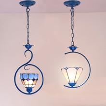 Artpad Mediterranean Style Adjustable Hanging Pendant Lights Living Room Bedroom Balcony LED Glass Lampshade
