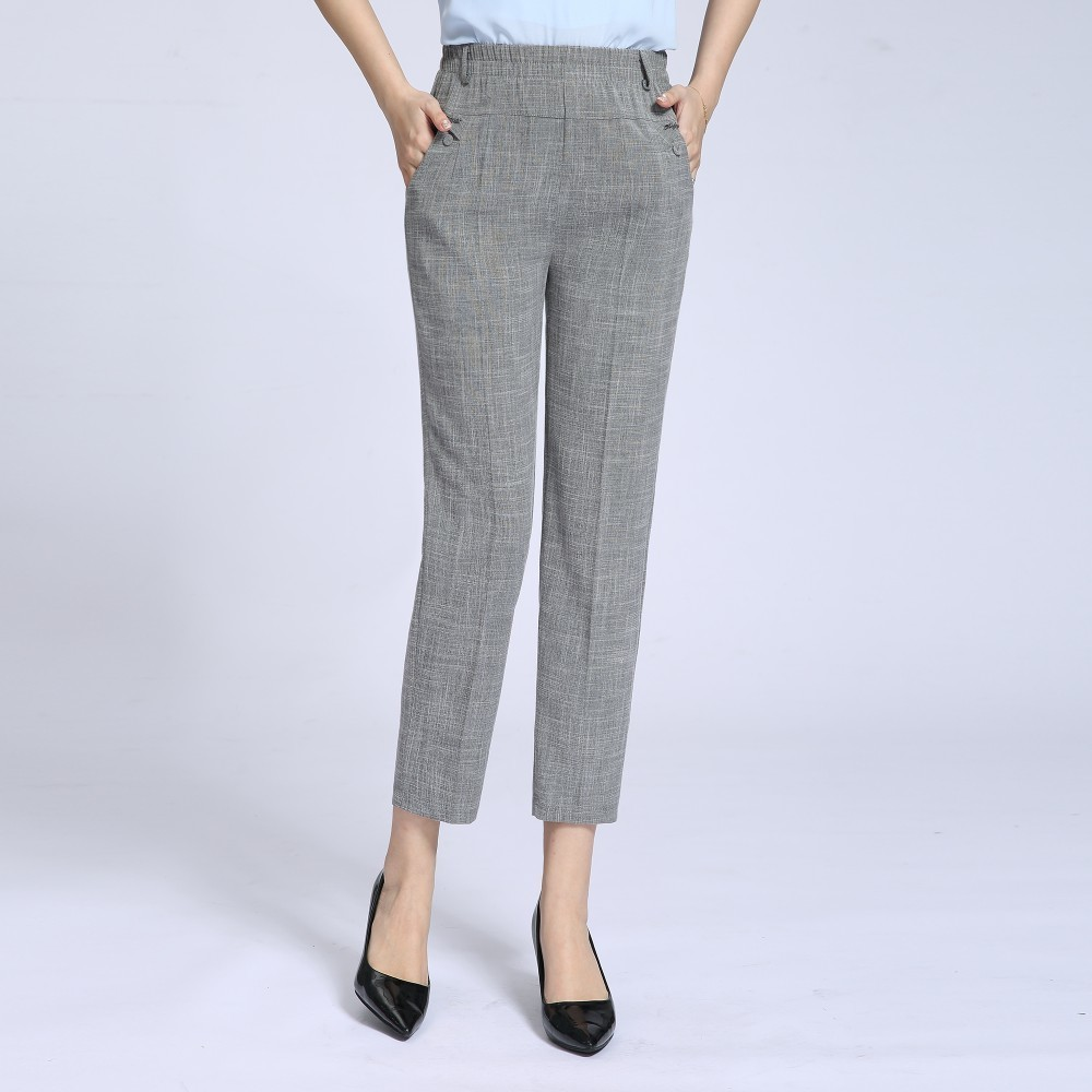 2019 Summer New Women's Casual   Pants     Capris   Fashion Cotton Linen   Pants   Elastic Waist Straight   Pants   Plus Size 5XL