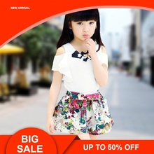 Fashion New Childrens Wear, Girls Summer Short Sleeve Skirt, Big Child Casual Trend Suit