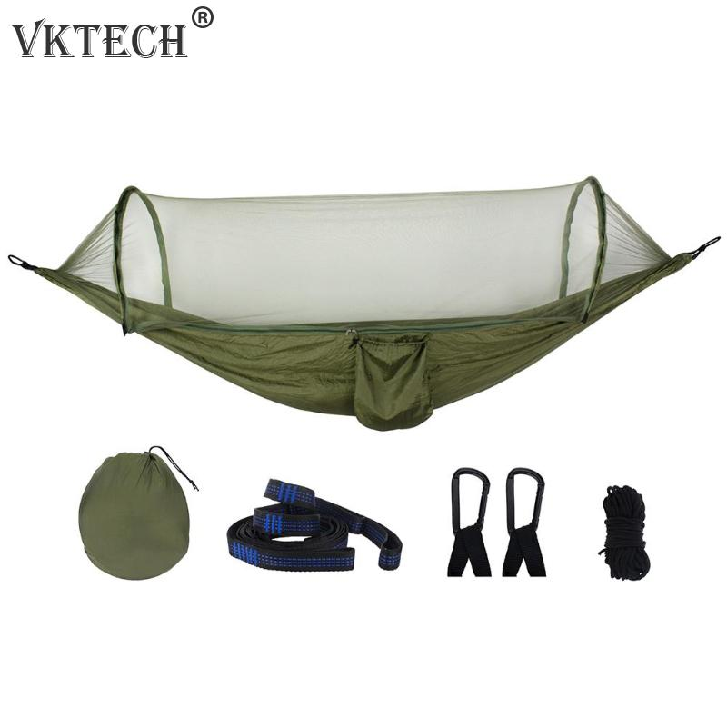 Portable Outdoor Camping Hammock With Mosquito Net Parachute Fabric Tent Backpacking Travel Survival Hunting Sleeping Bed