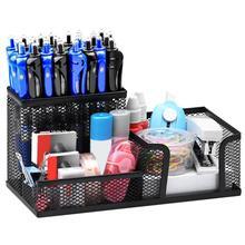 Настольный органайзер, черная металлическая сетка для стола, стильный офисный элегантный контейнер для хранения, три отделения, карандаш, подставка для канцелярских принадлежностей