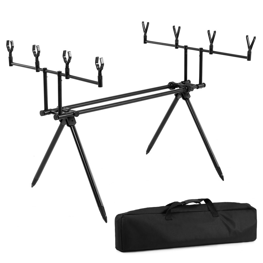 Detachable Fishing Rod Stand Holder Buzz Bar Pole Rest Head Folding Retractable Reservoir Fishing Rod Holder With Carry Bag