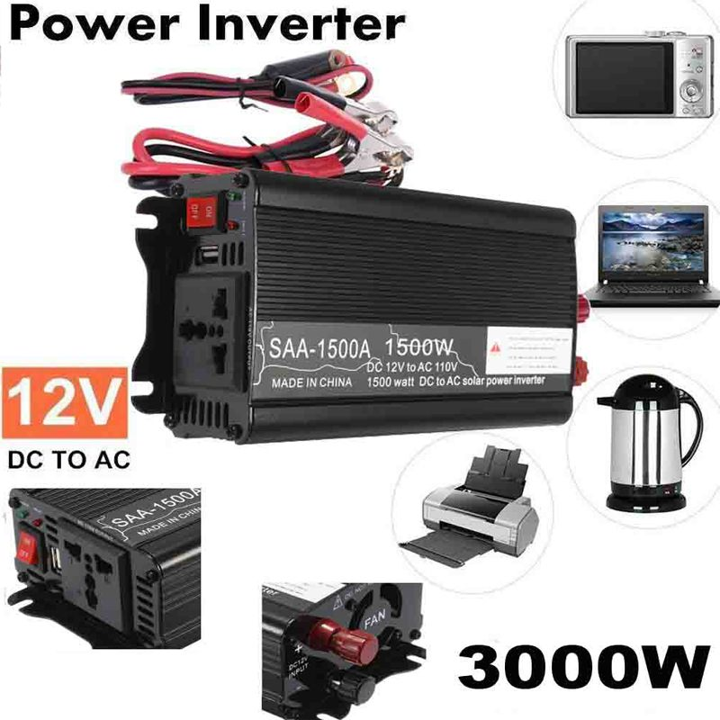 Max 3000 Watt 1500W Solar Power Inverter 12V DC to 110V AC LCD Digital Modified Sine Wave Car Charge Converter Transformer