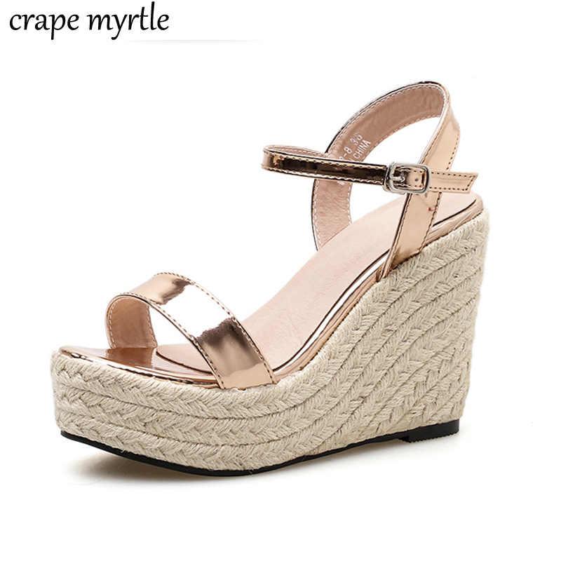 gold wedge sandals for women high heels