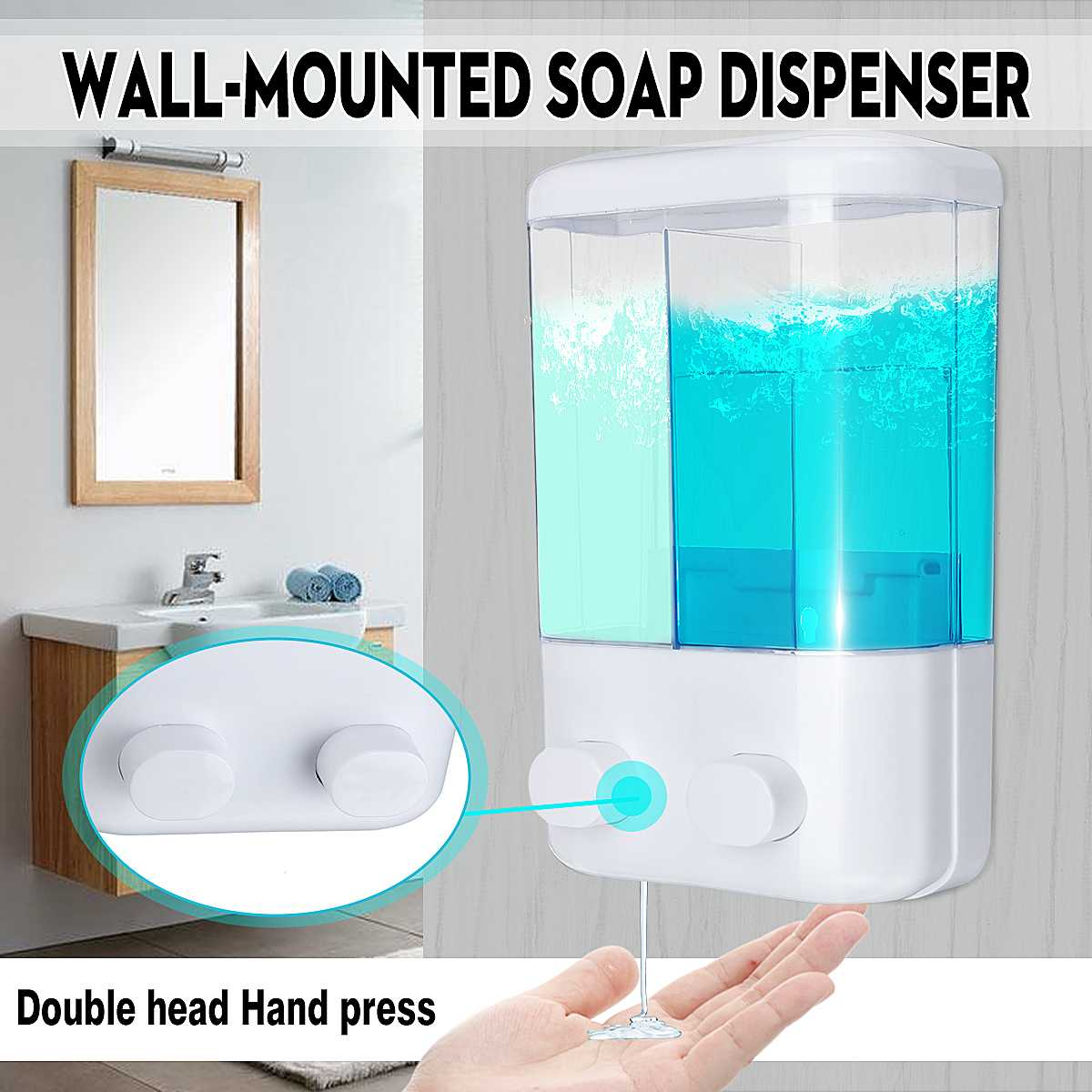 1000ml Double Wall Mounted Soap Shampoo Dispenser Shower Pump For Bathroom Hotel