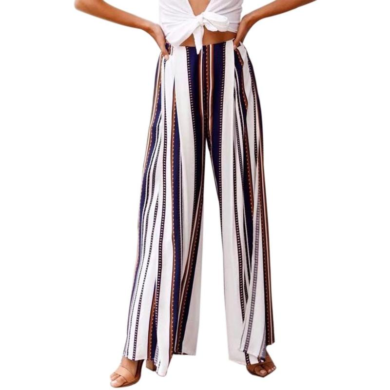 LUVCLS Women Summer Harem   Pants     Wide     Leg     Pants   Women   Leg   Split Stripe Women High Waist Loose   Wide     Leg     Pants   Calcas Feminina