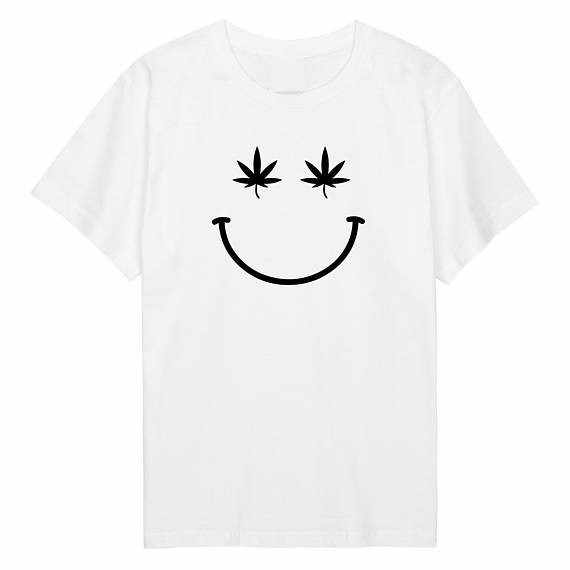 Smiley T Shirt Cannabis Weed Delle Donne Delle Signore Del Mens Ragazzi Della Ragazza Tee Top Pantaloni a Vita Bassa Tumblr Top Marijuana Farmaci Slogan T Shirt Top-J107