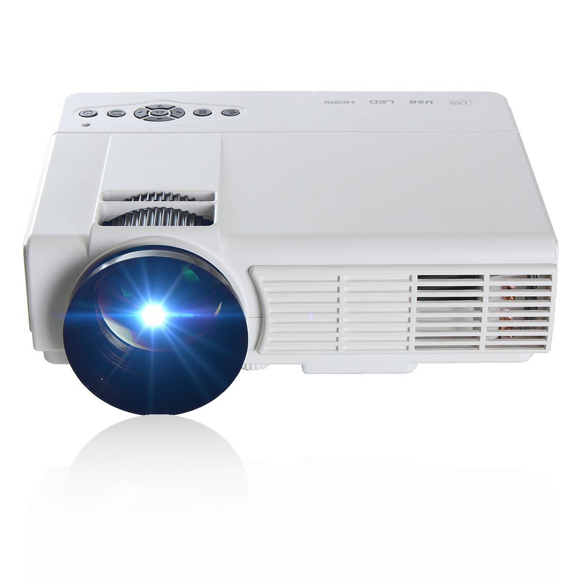 LEORY Q5 3D HD 1080P 3000 Lumens 800 x 480 Resolution Home Theater Multimedia LED Projector for Home cinema Black/WhiteLEORY Q5 3D HD 1080P 3000 Lumens 800 x 480 Resolution Home Theater Multimedia LED Projector for Home cinema Black/White