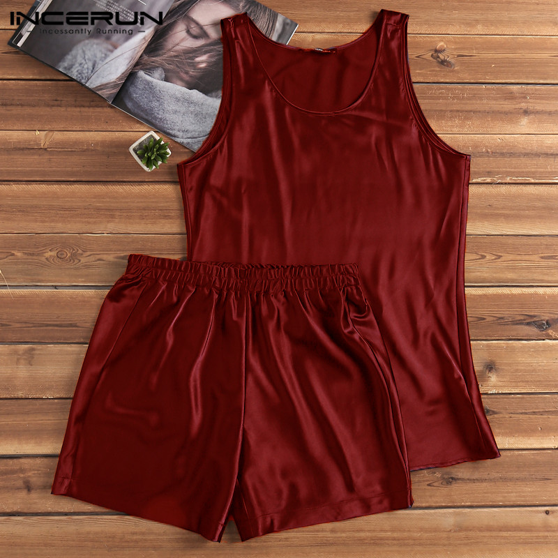 INCERUN Pajamas-Set Sleepwear-Set Nightgown Shorts Satin Silk Summer Soft Vest Breathable